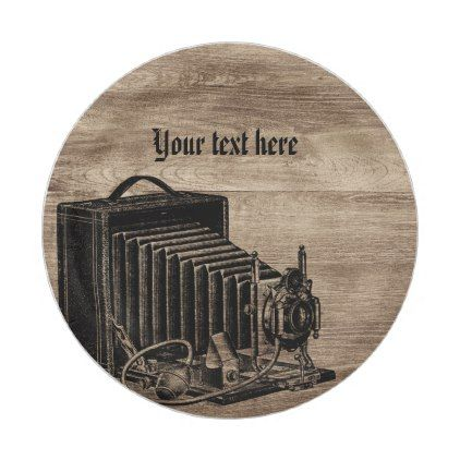 Vintage Box Camera Silhouette Paper Plates - paper gifts presents gift idea customize