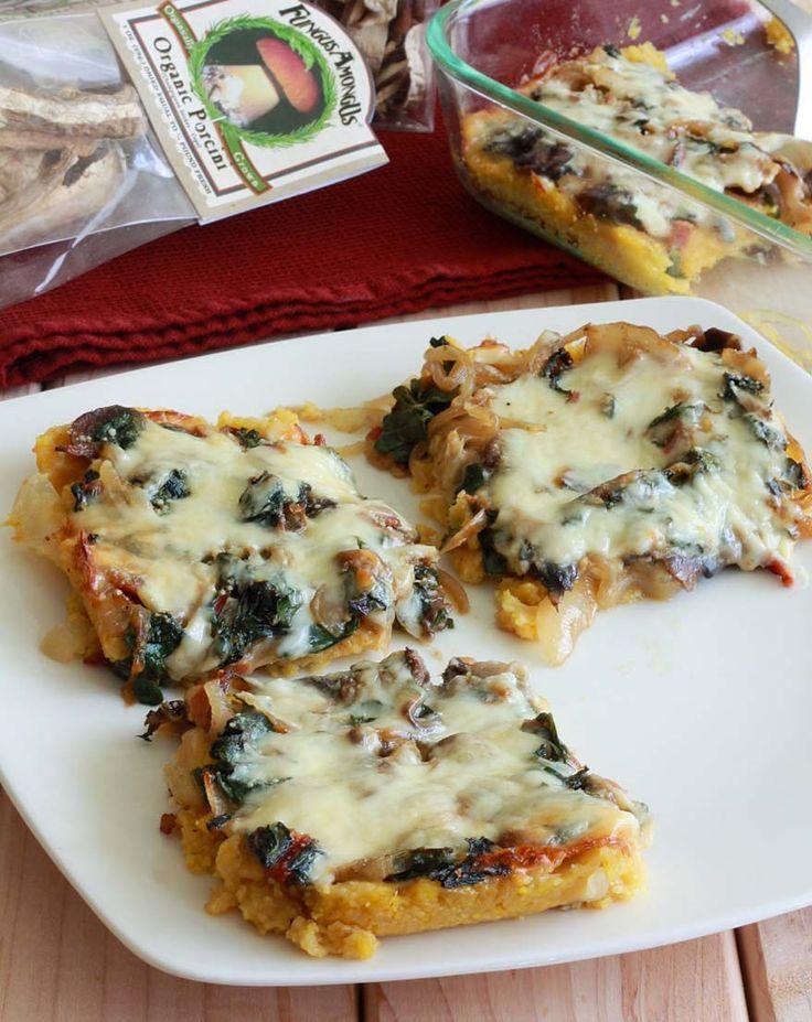 Baked Polenta with Mushrooms, Bacon & Swiss Chard. daringgourmet.com ...