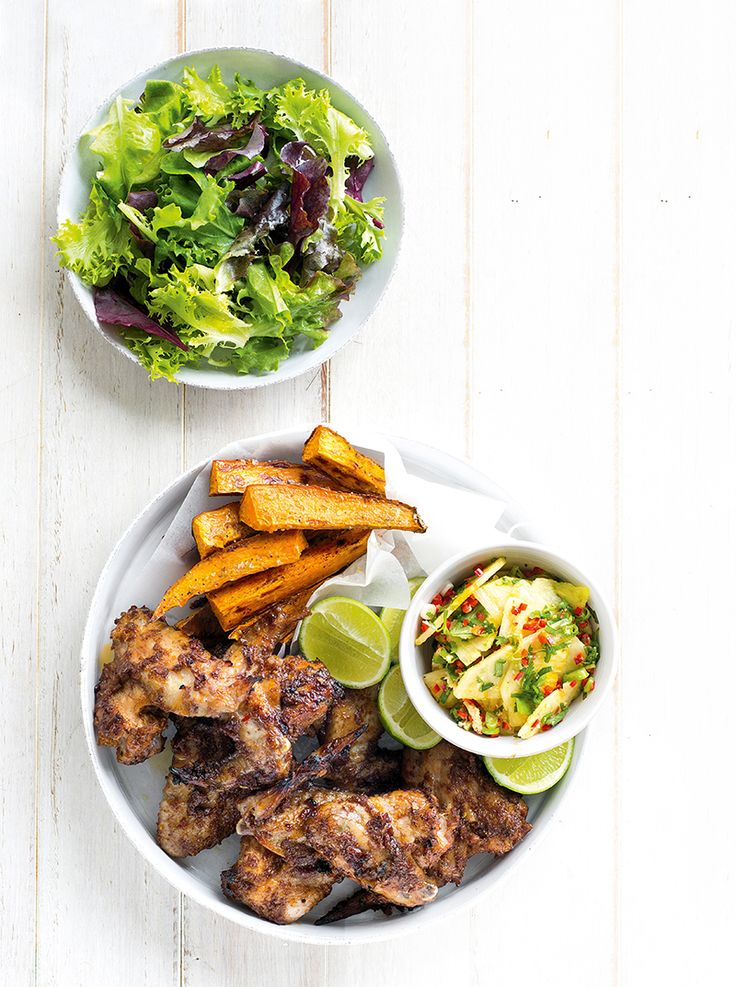 For a finger-lickin good meal that feeds a hoard in a hurry try these delicious jerk chicken wings. Serve with pineapple & kumara fries.