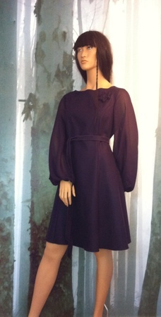 "MinSin, aubergine wool dress with chiffon sleeves. ""Vilde"""