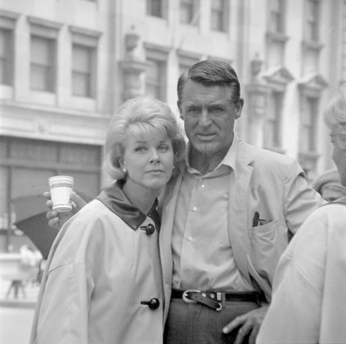"Doris and Cary on the set of ""That Touch Of Mink"", 1962."