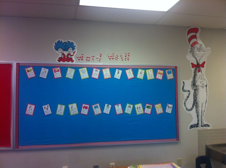 Dr seuss word wall bulletin boards pinterest for How to make a bulletin board wall