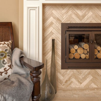 Herringbone Travertine For Fireplace For The Home