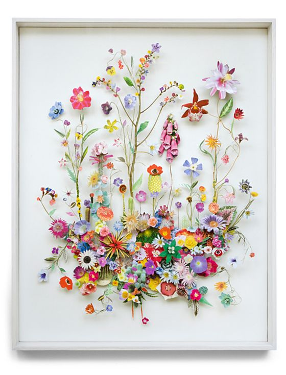 These 'flower constructions' by Anne ten Donkelaar are 3d collages from pressed flowers and cut out flower pictures. Each element is meticulously placed on pins which creates the depth.