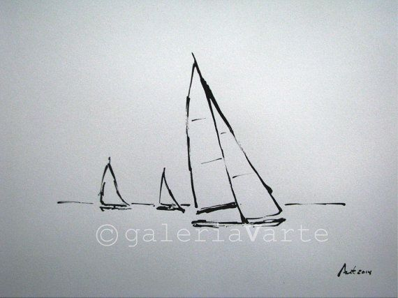 Tinta original veleros europeanstreetteam por galeriaVarte