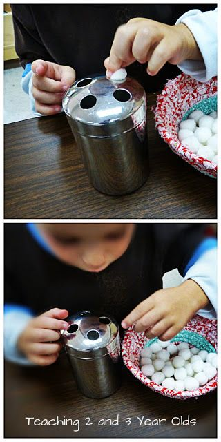 fine motor, pushing small pom pom through the holes. Use a container that can be opened.