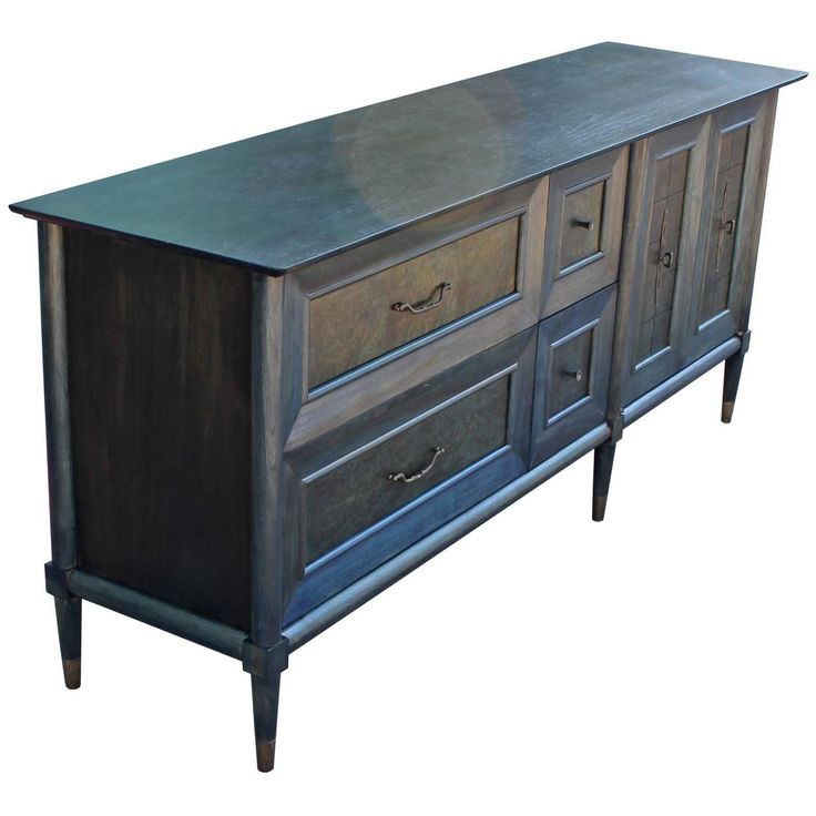 Glamorous Blue Dyed Burl Wood Sideboard with Copper Hardware | From a unique collection of antique and modern sideboards at https://www.1stdibs.com/furniture/storage-case-pieces/sideboards/