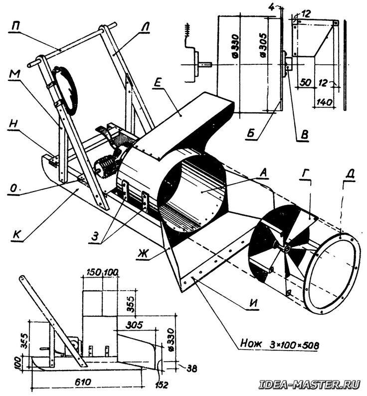 Рис. 2. Конструкция самодельного роторного снегоуборщика