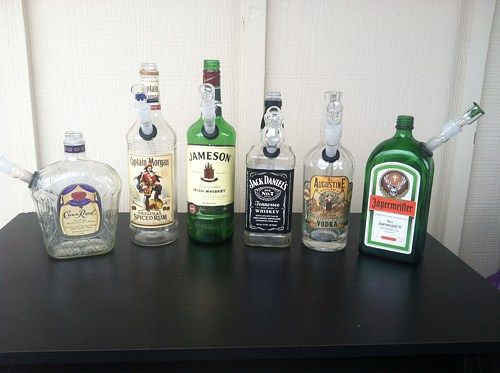 Crown Royal Liquor Bottle Bong With 18mm Bowl & Downstem
