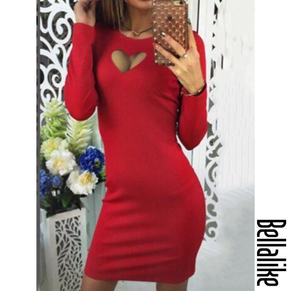 a88b35798 Round Neck Plain Blend Bodycon Dress