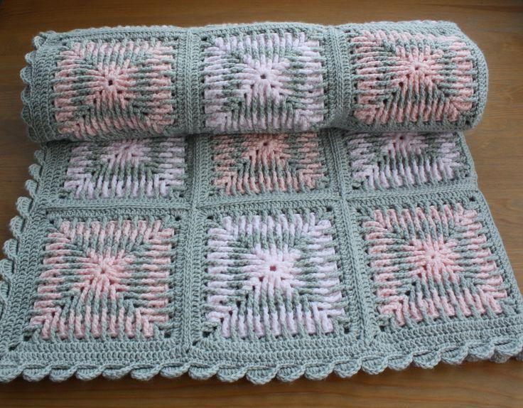 CROCHET BABY BLANKET. Granny Square Crochet Baby Blanket. TricolourBLANKET. Granny Blanket. Baby Shower. Birthday. Baby Gift.