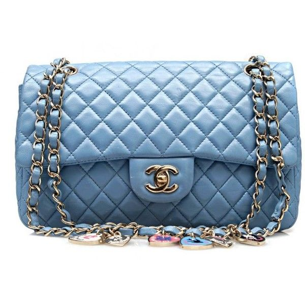 Chanel - Authentic Chanel Limited Edition Valentine Heart Blue Leather Classic ...malleries via polyvore....gorgeous color