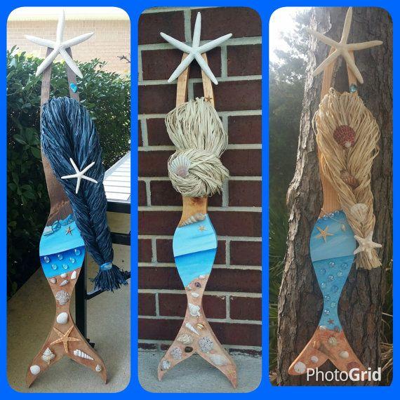 your custom order shades of blue beach scene mermaid home decor beach house - Ocean Home Decor