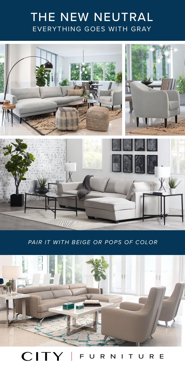 Gray Is The New Neutral When It Comes To Decorating Your Living Room Or Home A Refreshing Change From Beige Or Ta City Furniture Living Room Living Room Goals