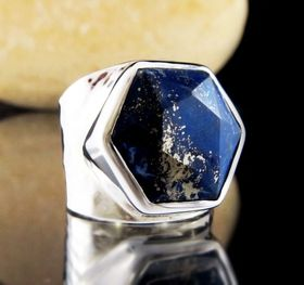 Lapis Lazuli Silver Ring by Entia Silver Jewellery - Size 8. Afghanistan Lapis in Star of David 6 pointed star design. A band of golden pyrite runs right across the midnight blue of the Lapis looking like the stars twinkling in the night sky. www.threemadfish.com