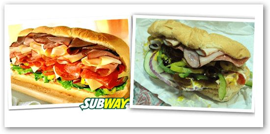Those commercials sure make six-inch sandwiches look a whole lot bigger! Fast Food Advertising Versus Reality • BoredBug