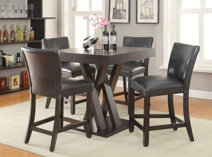 Coaster 5-Piece Square Counter Height Table Set in Cappuccino