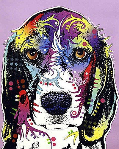 Beagle Charm Dean Russo Animal Contemporary Dog Poster (Choose Size, Print or Canvas)