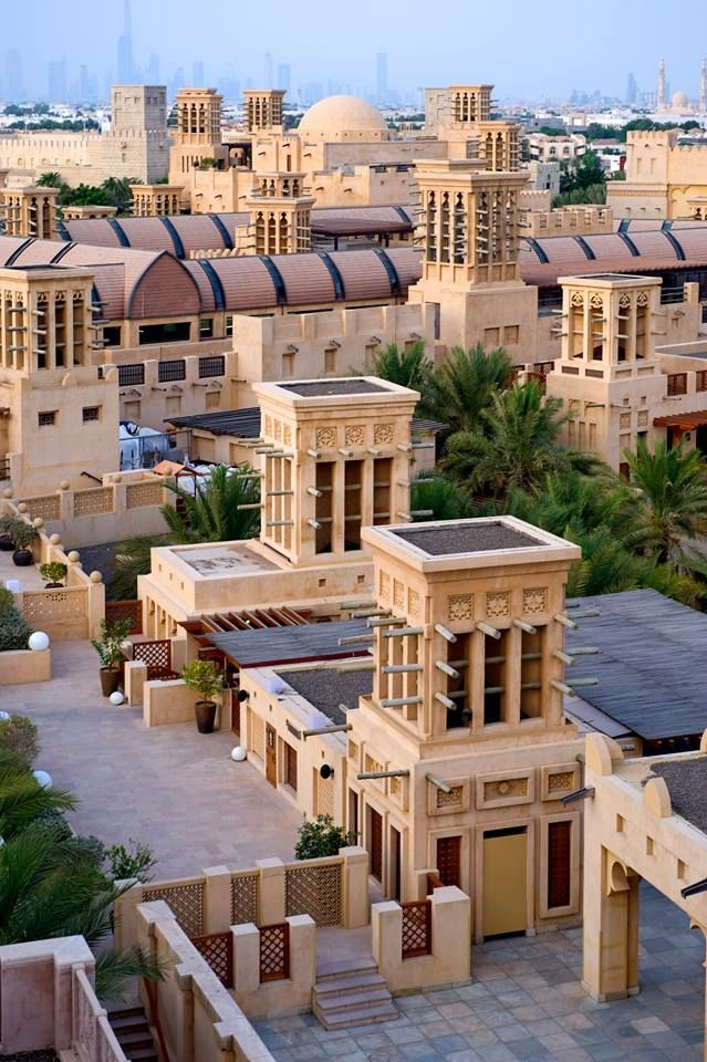 Madinat Jumeirah wind towers.  DUBAI - UNITED ARAB EMIRATES