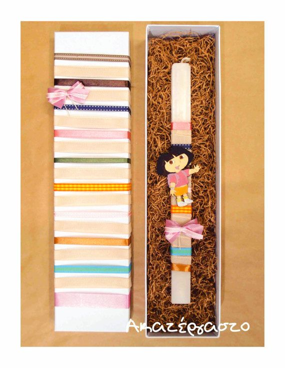 Easter candle Dora the Explorer hand painted wooden by Akatergasto