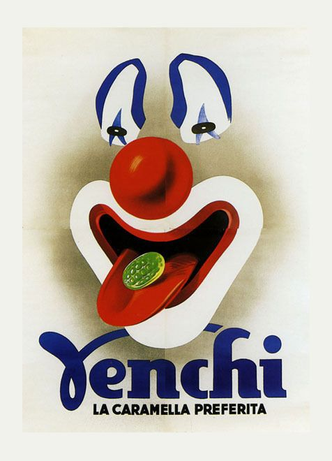 Pierrot Clown Venchi Candy Italian Italy Chocolate Vintage Poster Repo FREE S/H #Vintage