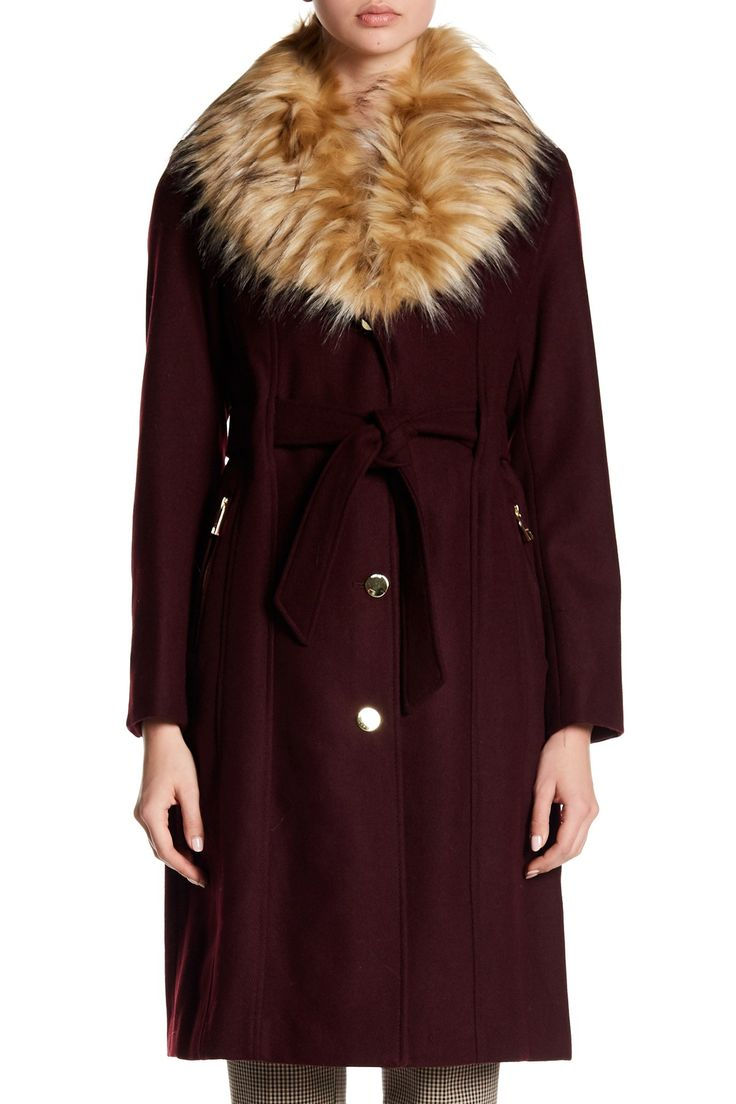 Faux Fur Trim Textured Twill Wool Blend Coat by GUESS on @nordstrom_rack