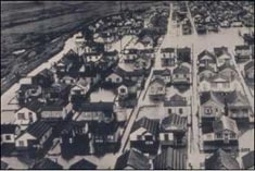 Aerial photo of flooded houses in 1953.