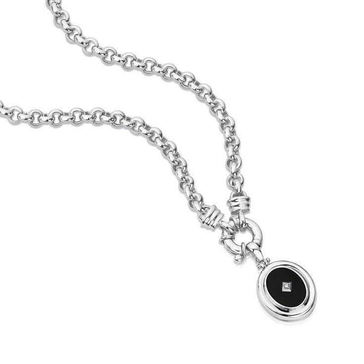 Sterling silver onyx & CZ enhancer