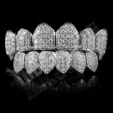 18K White Gold Plated High Quality CZ Vampire Fang Top Bottom GRILLZ Teeth