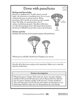 5th grade Science Worksheets: Why parachutes work | 5th ...