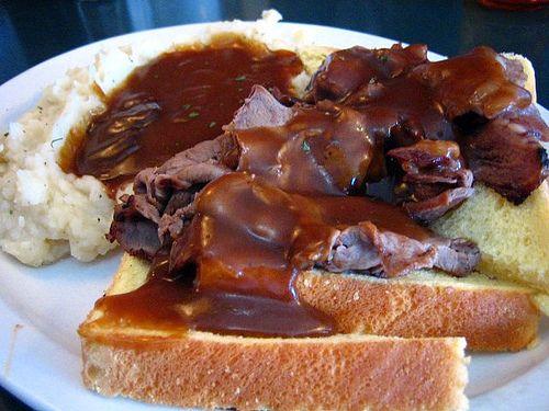 Open Faced Roast Beef Sandwich with gravy on Sourdough Bread