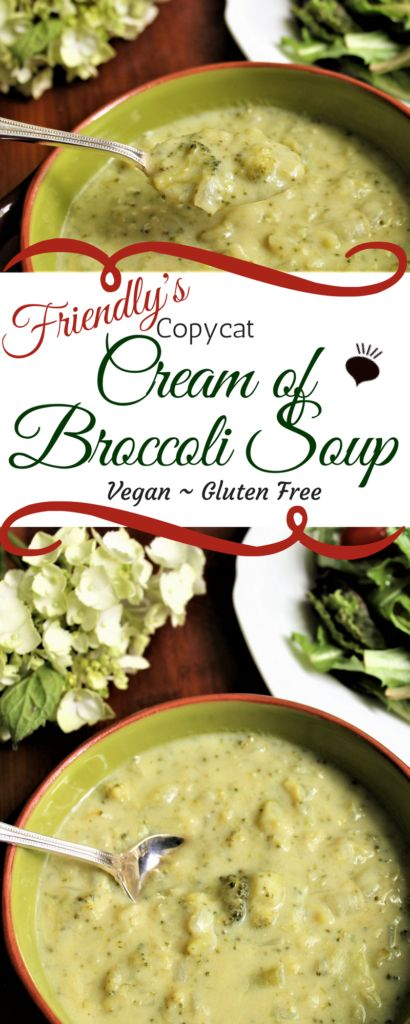 This Cream of Broccoli Soup is the ultimate comfort food! It tastes just like the soup that you used to get at Friendly's restaurants only veganized and cholesterol free! thehiddenveggies.com