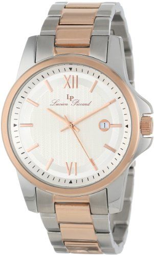 Men's Wrist Watches - Lucien Piccard Mens 10048SR22S Breithorn Silver Textured Dial Two Tone Stainless Steel Watch >>> Learn more by visiting the image link.