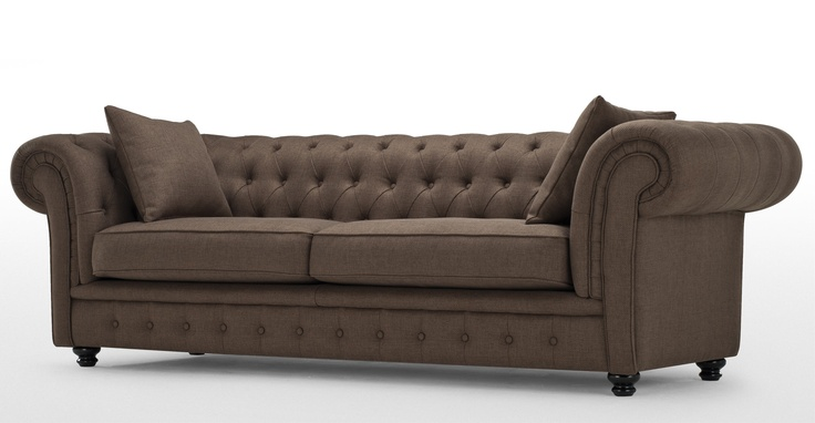 Branagh 3 Seater Chesterfield Sofa in nutty brown | made.com