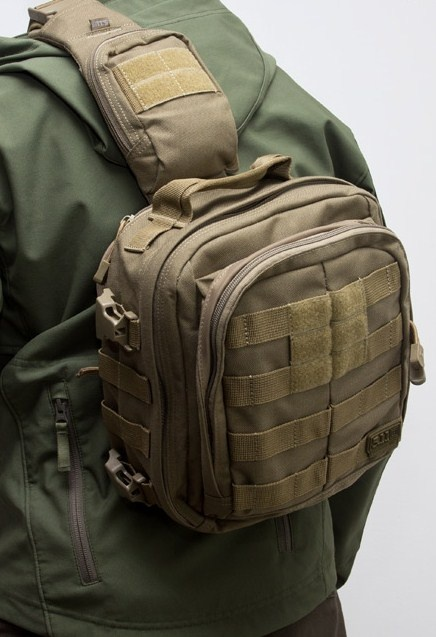 5.11 Tactical's Rush Moab 6. This my personal carry bag. Carries my Springfield xd subcompact with no problem. Excellent for a quick draw