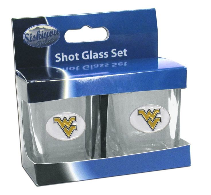 """Checkout our #LicensedGear products FREE SHIPPING + 10% OFF Coupon Code """"Official"""" W. Virginia Mountaineers Shot Glass Set - Officially licensed College product Set of two glasses Two ounce capacity Great gift for a true fan Metal W. Virginia Mountaineers with enameled detail - Price: $22.00. Buy now at https://officiallylicensedgear.com/w-virginia-mountaineers-shot-glass-set-2csqs60"""