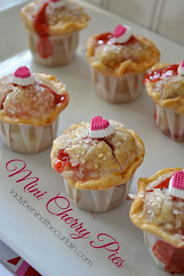 Mini Cherry Pies ~ Made by using Pillsbury already made pie crust, a can of cherry pie filling all baked in a cute ketchup cup