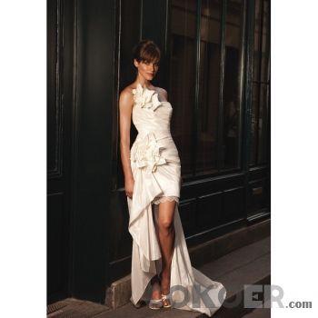 Korta-Brudklänningar-taft-axelbandslös-urringning-a-line-kort-bröllopsklänningar