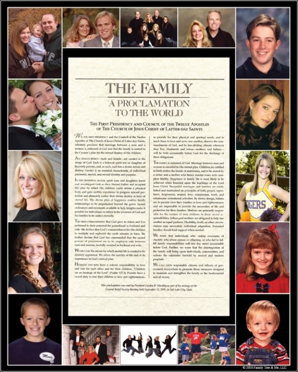 The Family Proclamation with Family photos on the mat.- We made one of these one year in Enrichment. Love it!