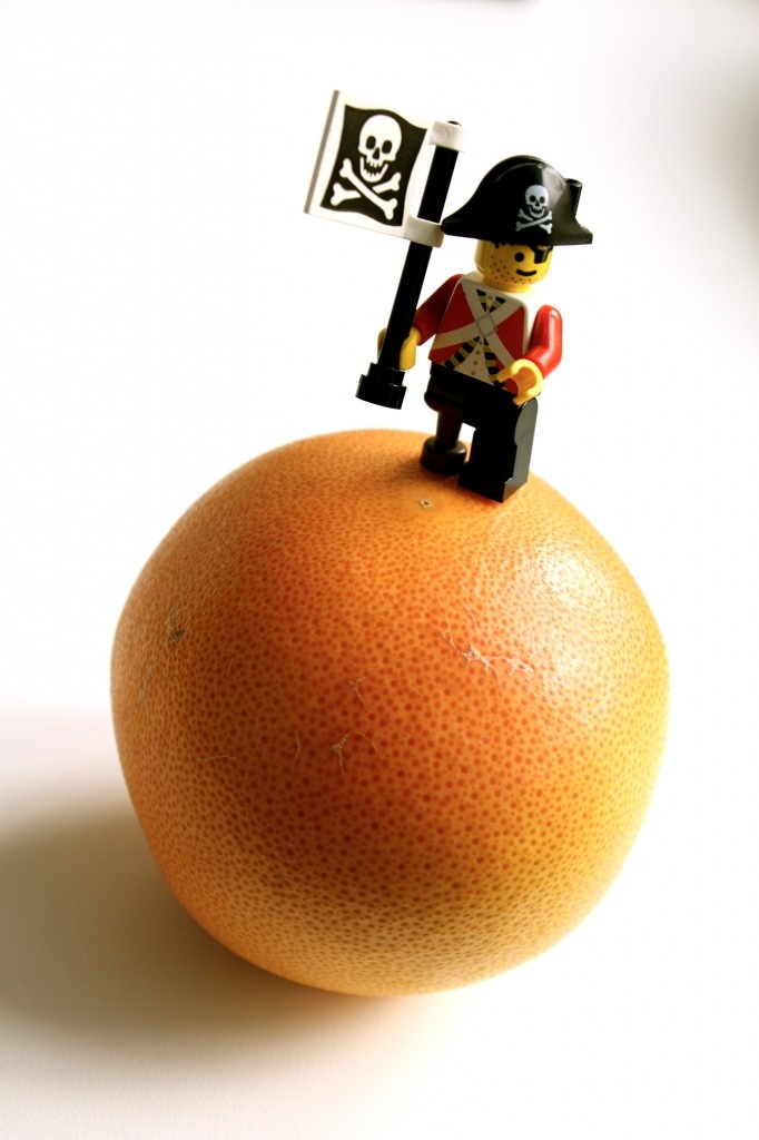 LEGO Kitchen Edition: If the moon was a grape fruit and Neil Armstrong was a pirate..
