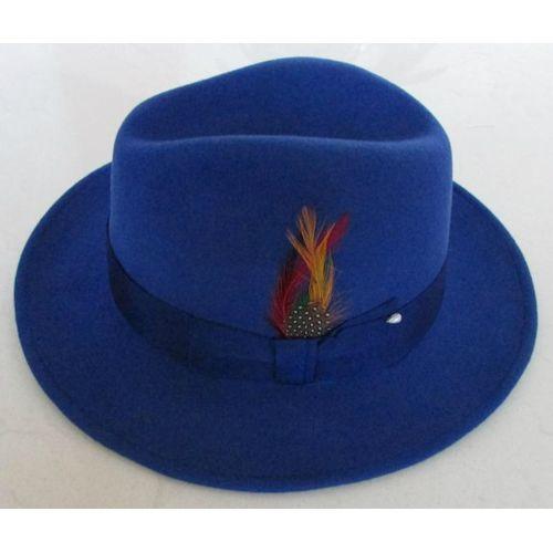 Royal Blue Wool Winter Fashion Dress Fedora Hats for Men SKU-159012