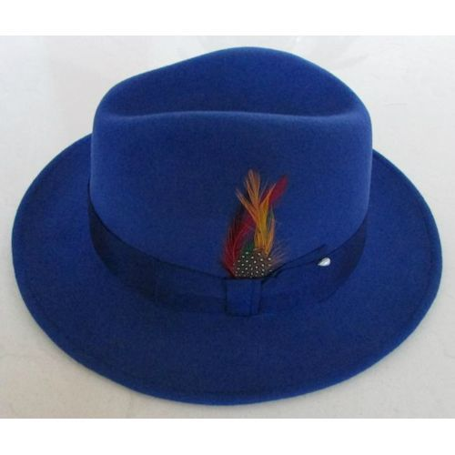 Royal Blue Wool Winter Fashion Dress Fedora Hats for Men SKU-159012