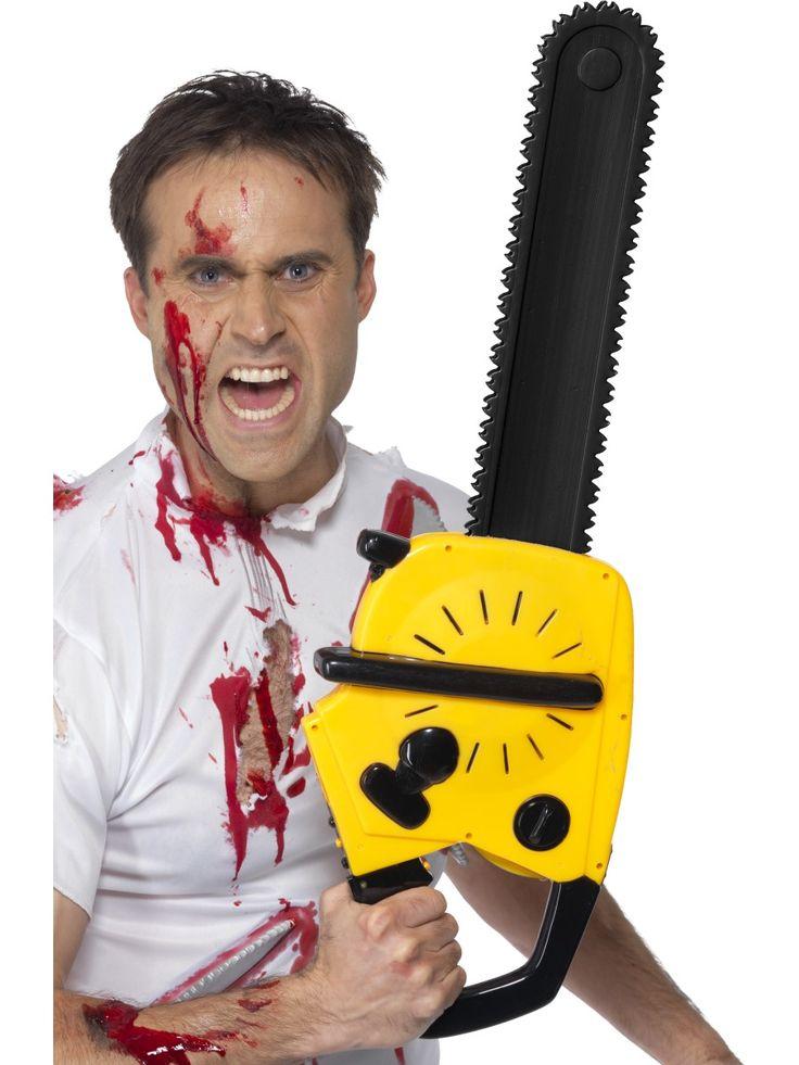 Zombie Kettensäge Attrappe mit Sound. Zubehör für Halloween und Zombiekostüme.