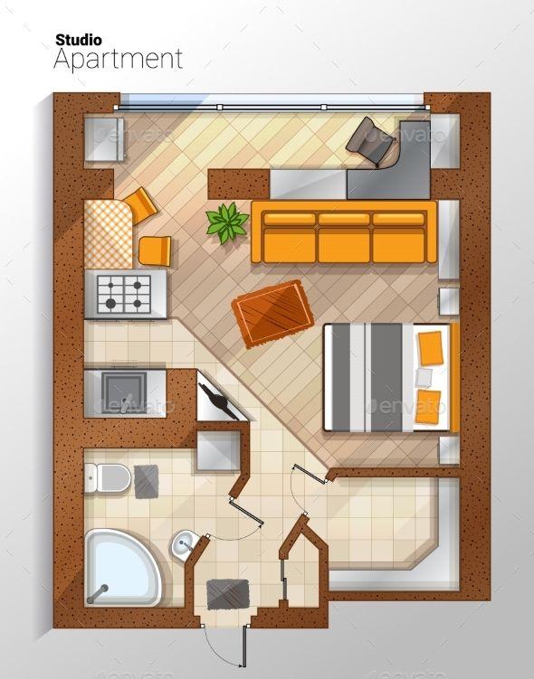 Contemporary Studio Apartment Design: Vector Modern Studio Apartment Top View