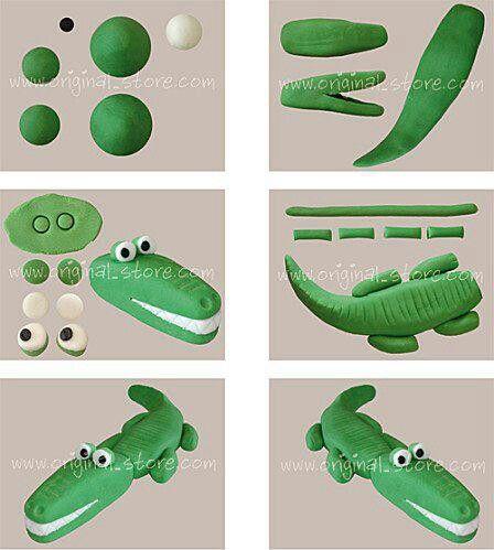 how to make a plasticine crocodile