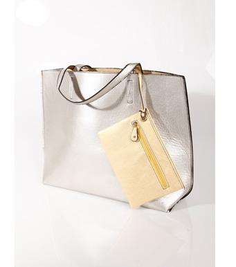Maxi bolso mujer reversible metalizado 2 en 1