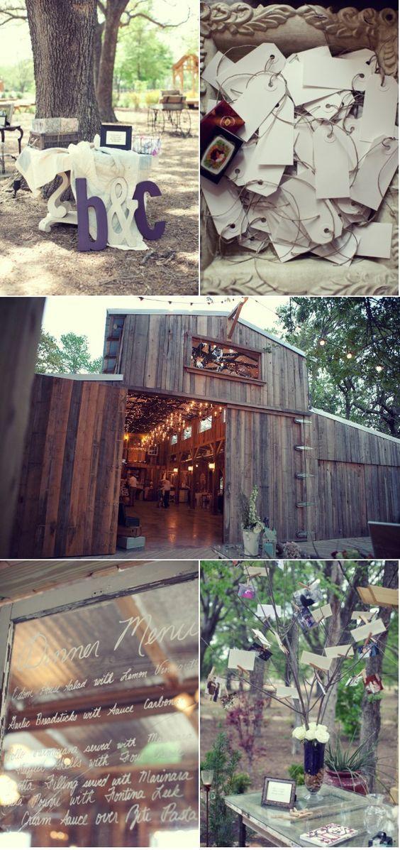 "Barn wedding (the lights!!), vintage key guest ""book,"" menu written on vintage window"