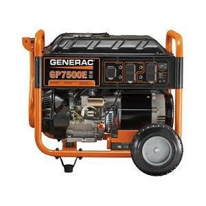 Generac 7500 Watt Gasoline Powered Electric Start Portable Generator - has a low-tone muffler which helps ensure quiet operation. Ergonomic fold down locking handle to make transport and storage easy.