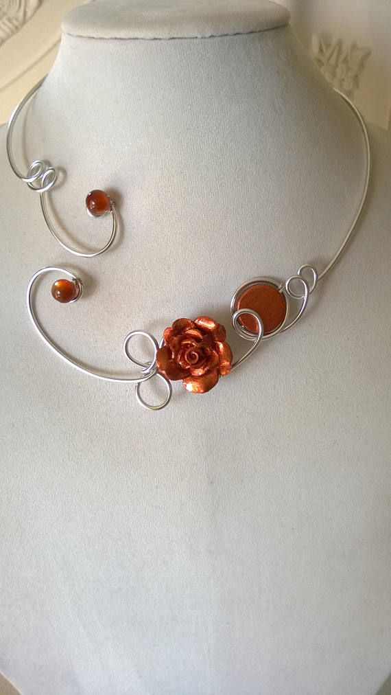 FREE SHIPPING JEWELRY Copper necklace Flower necklace