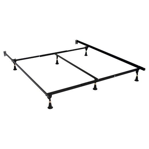 Keep your bed sturdy and secure in the Serta Stable - Base Premium Bed Frame - Black. This bed base is easily adjustable for your Queen or King size mattress. Attach each piece together, add the plastic feet and you'll be ready to place your box spring on this frame. The middle support bar and 6 feet give extra support. This metal bed frame works with a headboard or without.